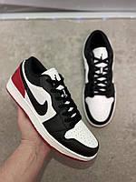 Мужские кроссовки Air Jordan 1 Low Black/Red/White Реплика