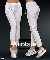Брюки летние на шнурке в спортивном стиле   белые N134, фото 1