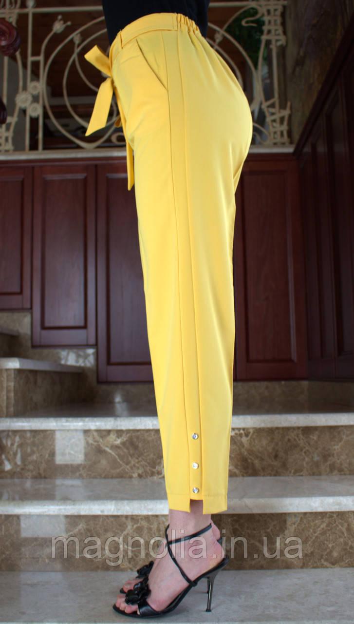 LEX №92 Яркие женские брюки с поясом на резинке 46-54 желтые/ желтого цвета/ желтый