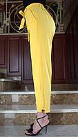 LEX №92 Яркие женские брюки с поясом на резинке 46-54 желтые/ желтого цвета/ желтый, фото 1