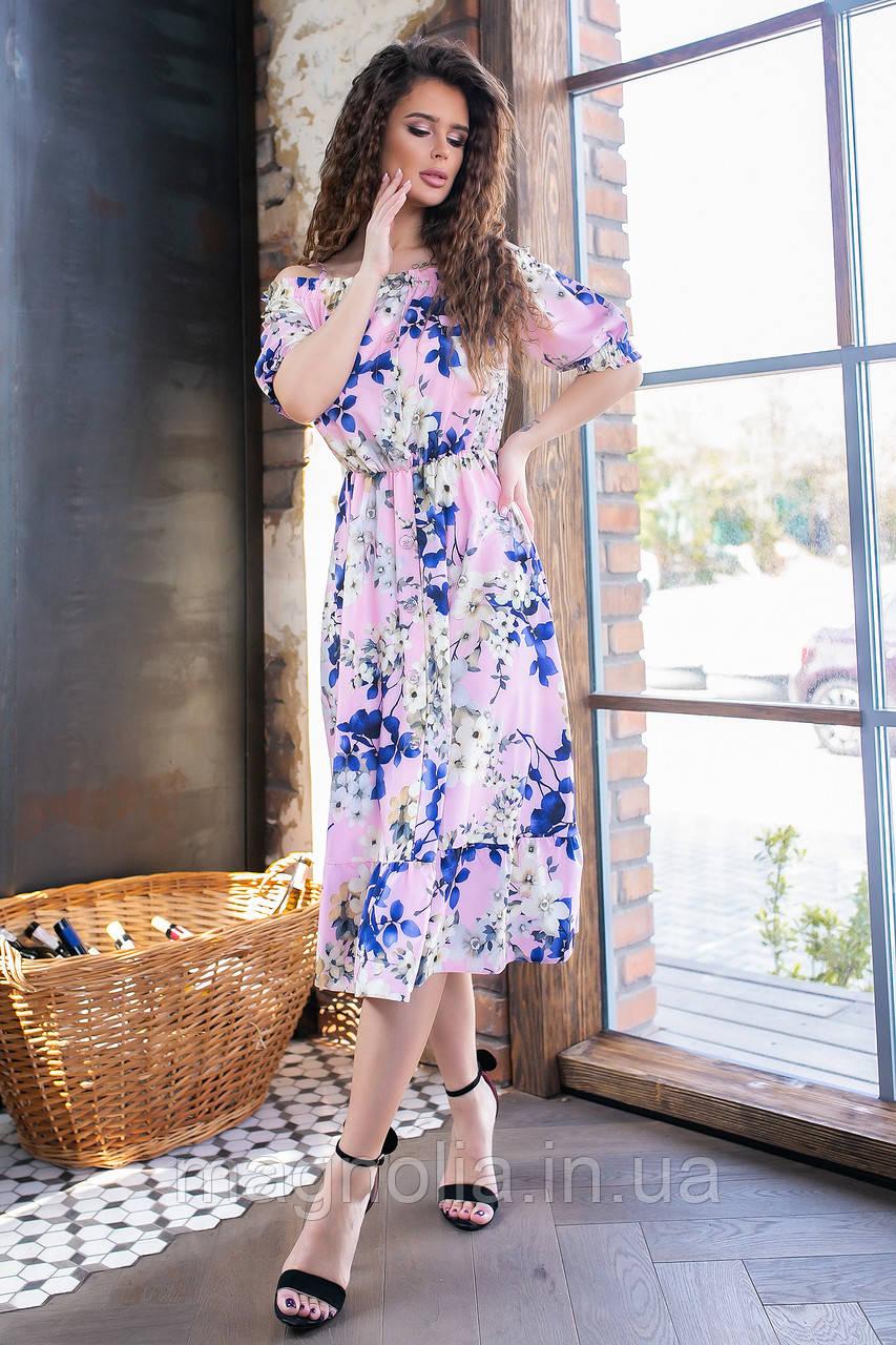 Длинное летнее платье с резинкой на талии ( синие цветы на розовом,03), арт 199
