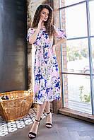 Длинное летнее платье с резинкой на талии ( синие цветы на розовом,03), арт 199, фото 1