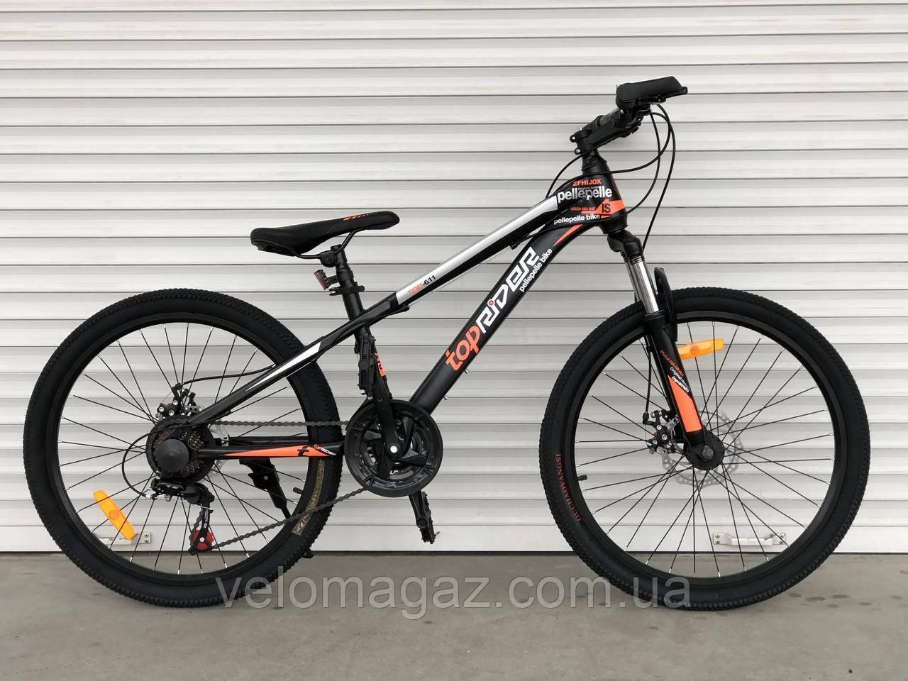 """Велосипед TopRider-611 24"""" горный, рама 14"""", оранжевый"""