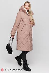 Бежевое зимнее стеганое пальто 2в1 для беременных с капюшоном, с молниями по бокам S M L XL