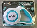 Рулетка-поводок AnimAll REFLECTOR для собак до 25 кг / 5 м блакитний-білий, фото 2