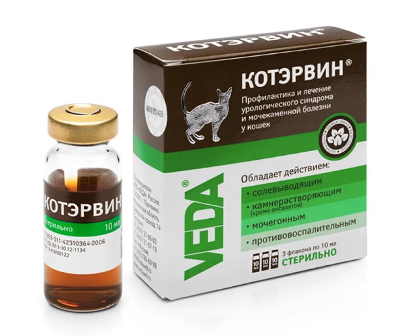 Краплі Veda Котервін для лікування сечокам'яної хвороби і урологічного синдрому для кішок 3 флакона x 10 мл