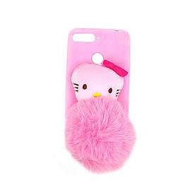 Чохол накладка для Huawei Honor 7C силіконовий з хутром, Hello Kitty, Рожевий