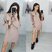 Женское платье худи бежевое N173, фото 1