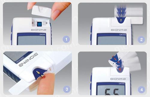 Измерение уровня сахара в крови при помощи глюкометра Бионайм 300