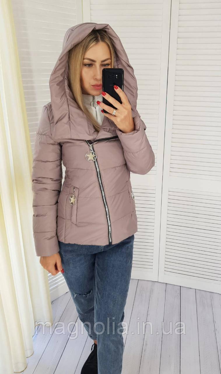 Куртка женская с капюшоном арт. 501 бежево-розовый