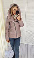 Куртка женская с капюшоном арт. 501 бежево-розовый, фото 1