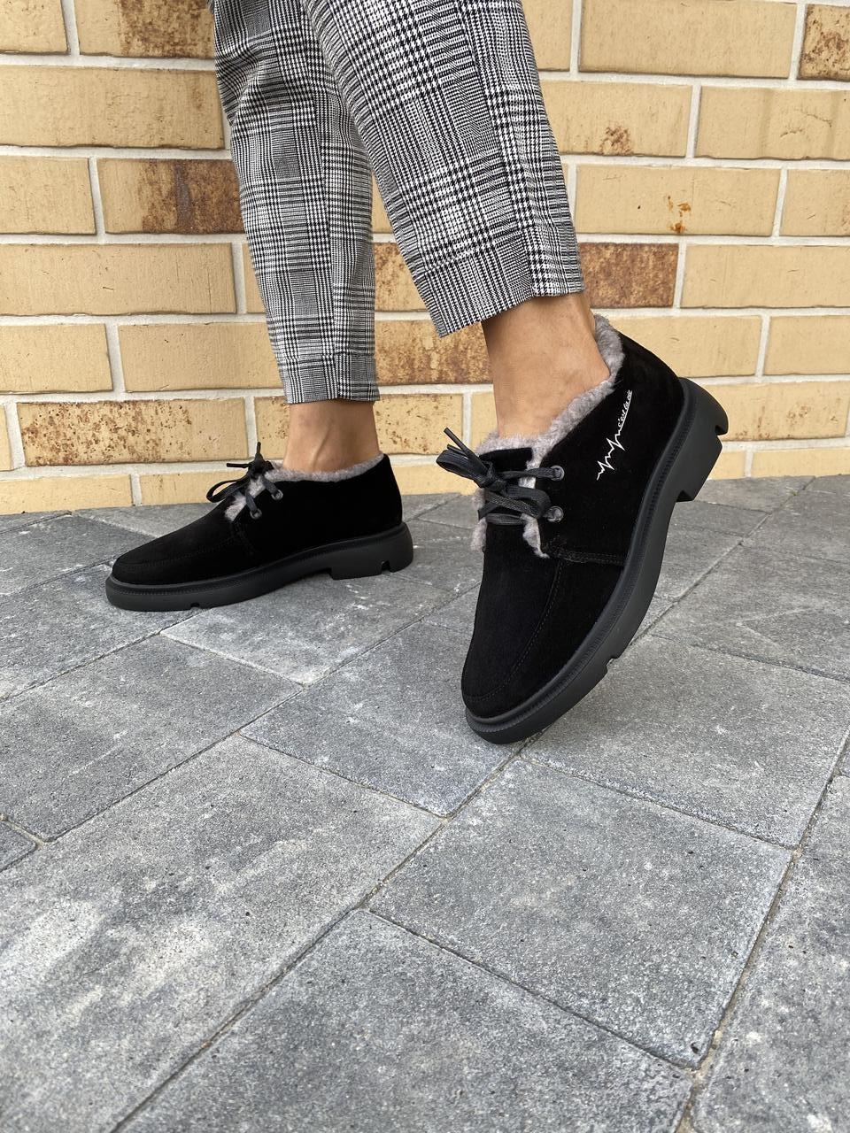 Женские ботинки замшевые зимние черные Polin 2036