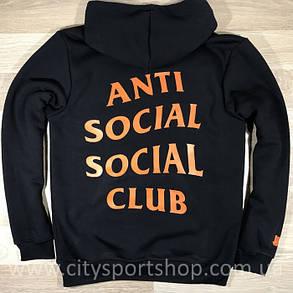 Толстовка з принтом A. S. S. C. Paranoid   Anti Social social club чоловіча чорна, фото 2