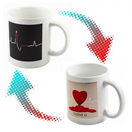 Чашки и кружки подарочные оригинальные прикольные -хамелеон Кардиограмма (сердце)
