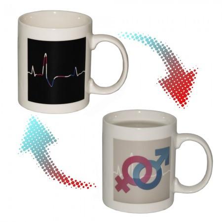 Чашки и кружки подарочные оригинальные прикольные-хамелеон Кардиограмма (М+Ж)