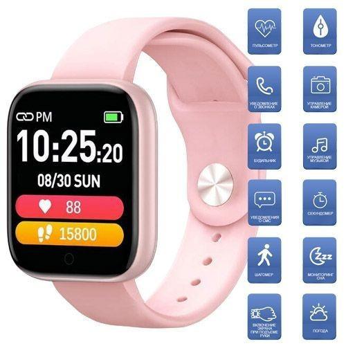 Фитнес-браслет Apl band T85 Big tuch screen, Smart band, смарт часы с большим экраном цвет розовый