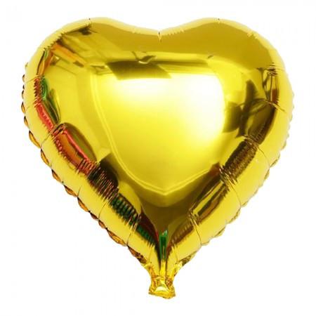 Воздушные шары и шарики для праздника надувные (45см) Сердечко золотое