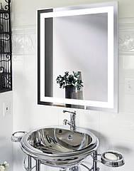 """Зеркало для ванной комнаты с LED подсветкой 10Вт 683*800 с рисунком """"JANVIER"""" D3 с кнопочным включателем"""