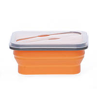 Ланч бокс для еды не герметичный силиконовый складной оранжевый