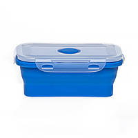 Ланч бокс для еды силиконовый складной синий 450мл