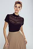 Женская нарядная облегающая блуза черного цвета. Модель Pola Eldar.