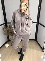 Велюровий костюм з капюшоном Кавовий, фото 1