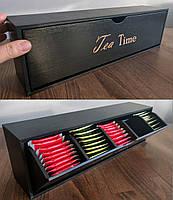 Деревянная Шкатулка для чая, 5 отделений (тип2) цвет ЧЕРНЫЙ