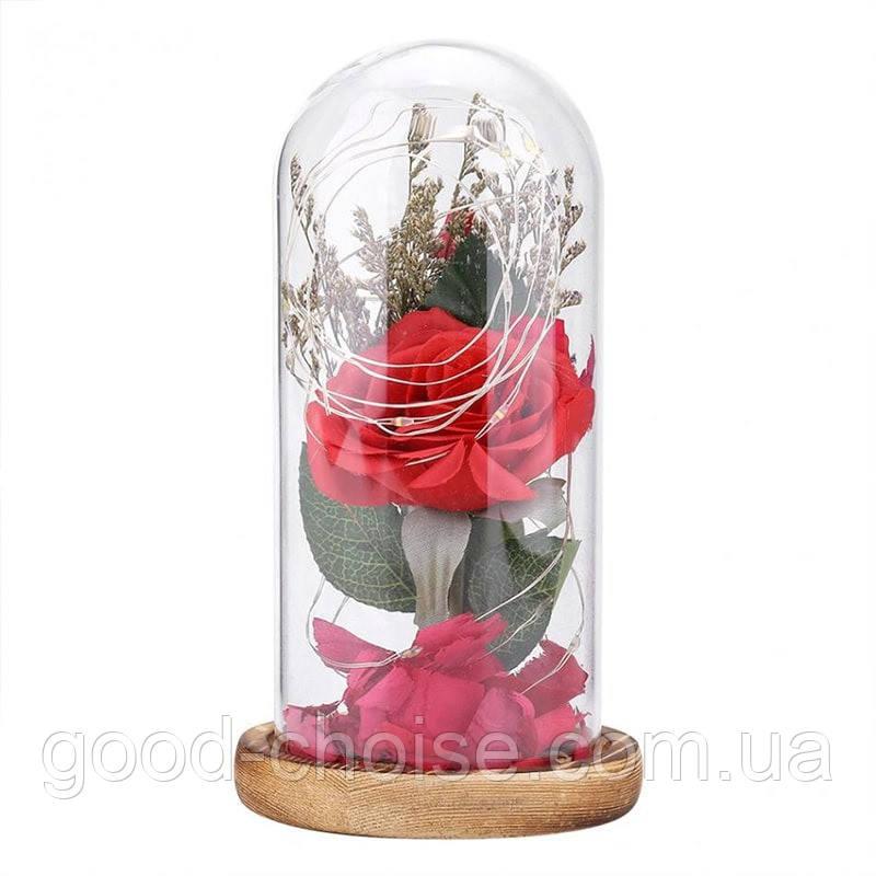 Роза в колбе с LED подсветкой 17х8 см