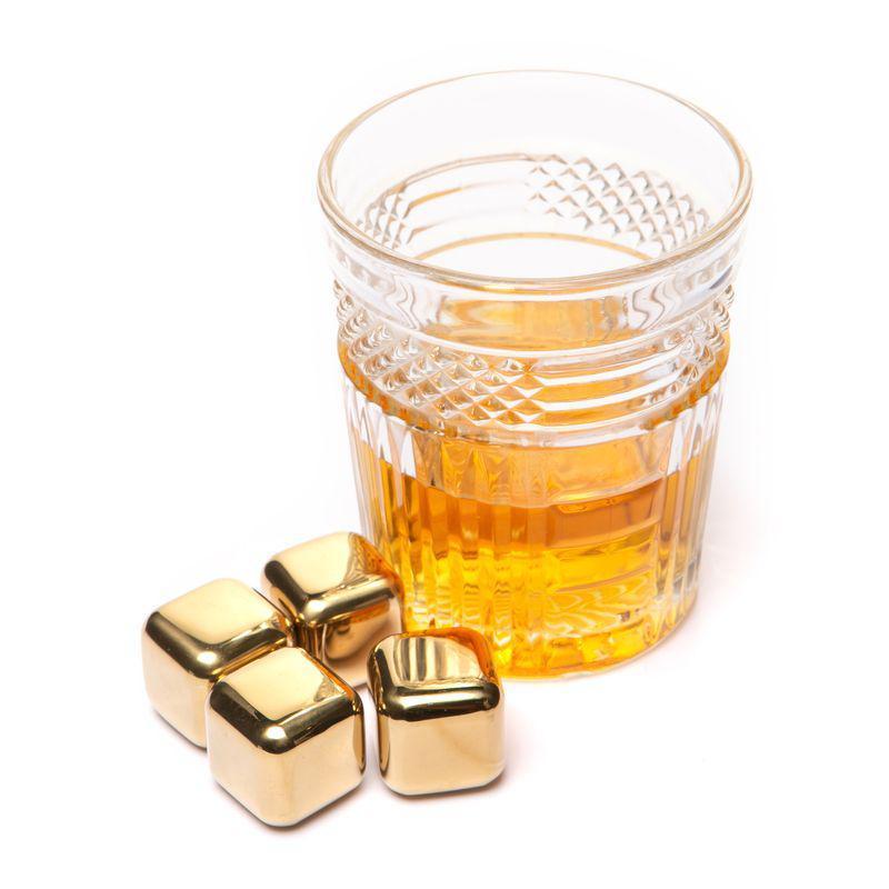 Камни кубики для виски 4 шт. металлические золотые набор