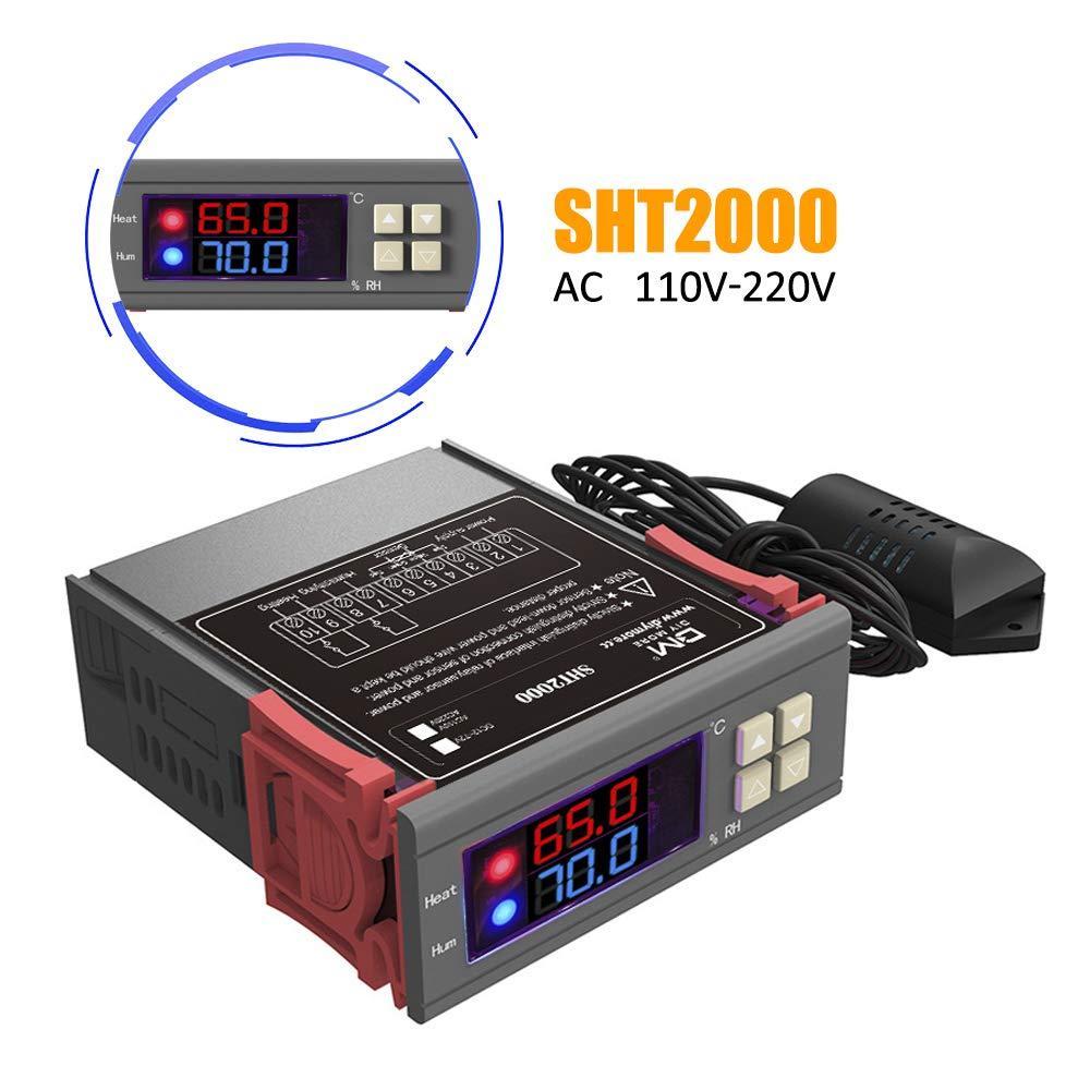 Цифровой регулятор температуры и влажности SHT2000 с датчиком, -20°C +60°C, влажность 0-100%RH, 220В два реле