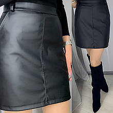 Женская стильная кожаная мини юбка Ткань: экокожа  Цвет чёрный, рыжий, баклажан 42,44,46, 48, 50