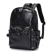 Черный мужской рюкзак. рюкзак из эко-кожи, городской повседневный рюкзак СС-3632-10