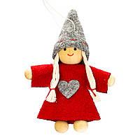 """Мягкие игрушки плюшевые новогодние оригинальные на подарок """"Девочка в красном платье"""" (009NV)"""