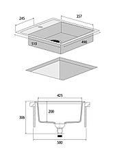 DG00C50wh Мойка кухонная гранитная без крыла для сушки БЕЛЫЙ, фото 3