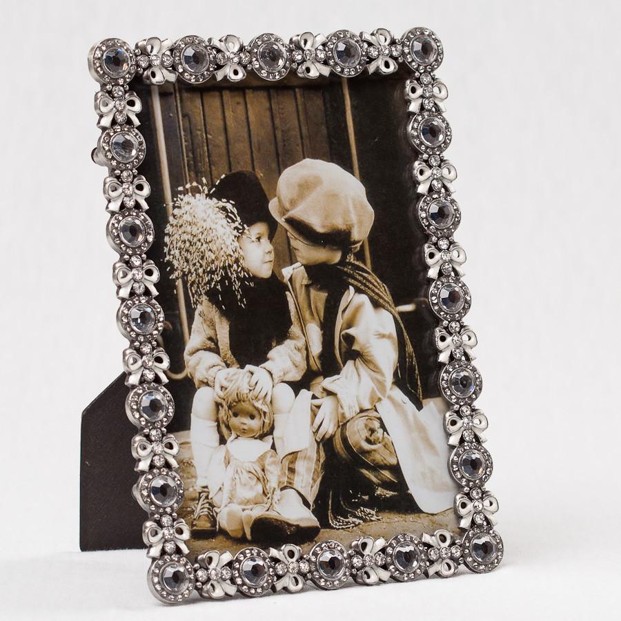 """Фоторамки рамка для фото подарчная сімейна красиві готові """"Бантики в кристалах"""" (12*17 см) (003MA)"""