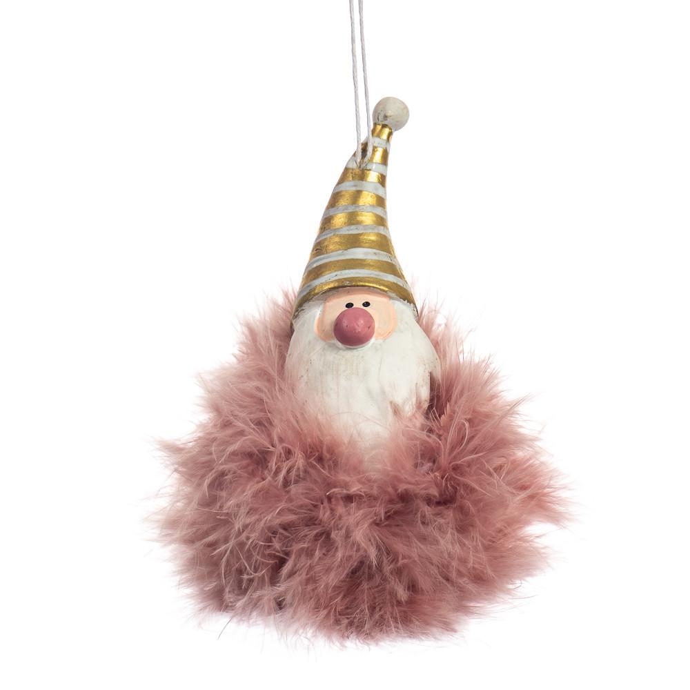 """Подвеска """"Пушистый Дед Мороз"""" розовый (6003-009)"""