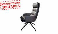 Мягкое кресло Prestol ГОРДОН серый экокожа поворотный 640x760x1070