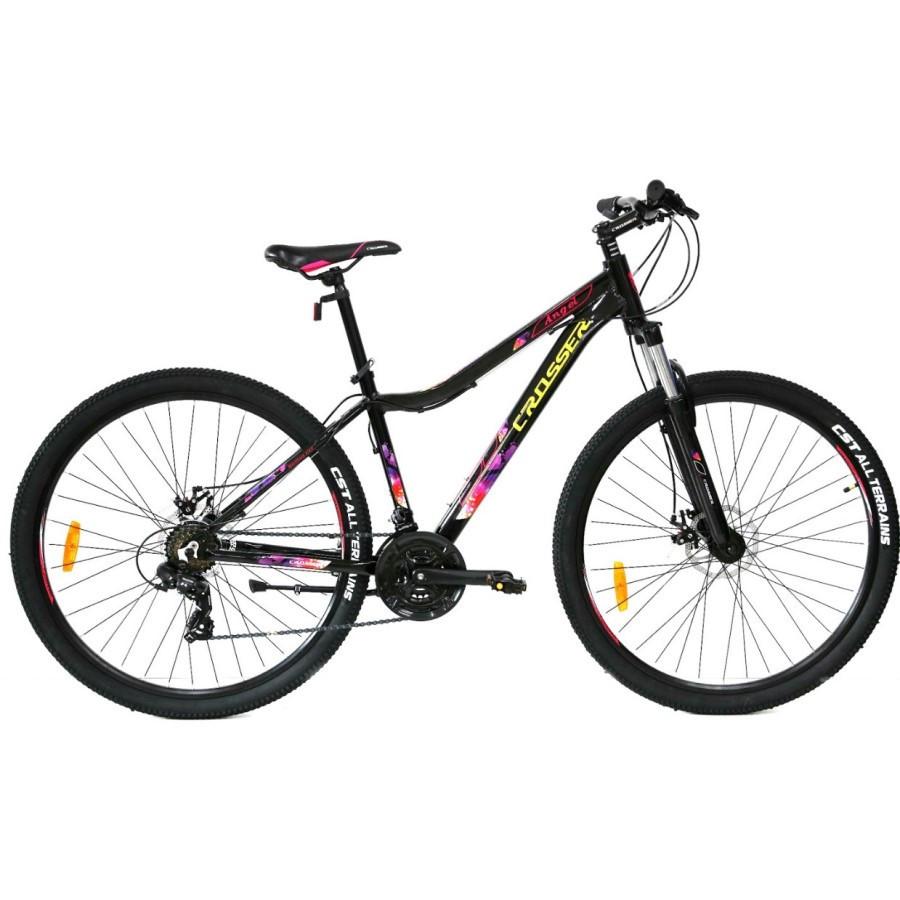 """Горный велосипед Crosser ANGEL R26"""" 16.5"""" алюминиевый с дисковыми тормозами (Черно-фиолетовый)"""