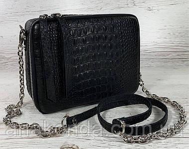 61-кр Натуральная кожа Черная сумка женская через плечо кросс-боди черная Сумка женская кожаная рептилия