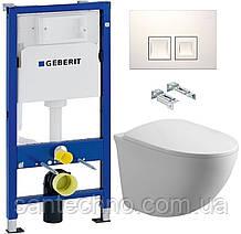 Комплект: Унитаз подвесной DUSEL SENTIA+Инсталляция GEBERIT+Панель смыва белая, квадратные кнопки+сиденье