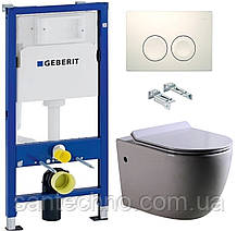 Комплект: Унитаз подвесной DUSEL BELISI+Инсталляция GEBERIT+Панель смыва белая, круглые кнопки+сиденье