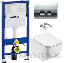 Комплект: Унитаз подвесной DUSEL LUNAR+Инсталляция GEBERIT+Панель смыва хром, квадратные кнопки+сиденье