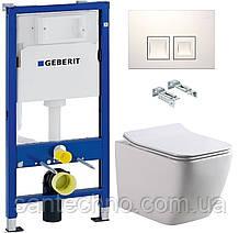 Комплект: Унитаз подвесной DUSEL CUBIS+Инсталляция GEBERIT+Панель смыва белая, квадратные кнопки+сиденье