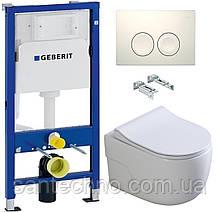Комплект: Унитаз подвесной DUSEL VORTEX+ Инсталляция GEBERIT+Панель смыва белая, круглые кнопки+сиденье