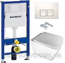Комплект: Унитаз подвесной DUSEL IVIA +Инсталляция GEBERIT+Панель смыва белая, квадратные кнопки+сиденье