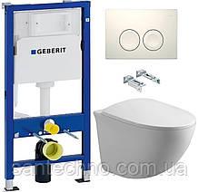 Комплект: Унитаз подвесной DUSEL SENTIA+Инсталляция GEBERIT+Панель смыва белая, круглые кнопки+сиденье