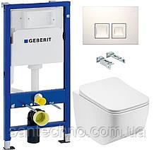 Комплект: Унитаз подвесной DUSEL LUNAR+Инсталляция GEBERIT+Панель смыва белая, квадратные кнопки+сиденье