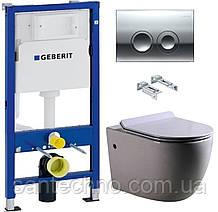Комплект: Унитаз подвесной DUSEL BELISI+Инсталляция GEBERIT+Панель смыва хром, круглые кнопки+сиденье
