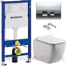 Комплект: Унитаз подвесной DUSEL CUBIS+Инсталляция GEBERIT+Панель смыва хром, квадратные кнопки+сиденье
