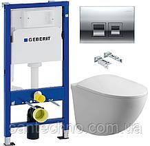 Комплект: Унитаз подвесной DUSEL SENTIA+Инсталляция GEBERIT+Панель смыва хром, квадратные кнопки+сиденье